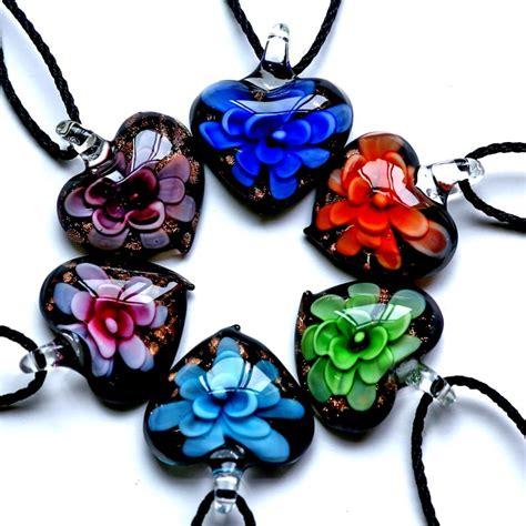 bead necklaces cheap wholesale handmade flower inside murano lwork glass