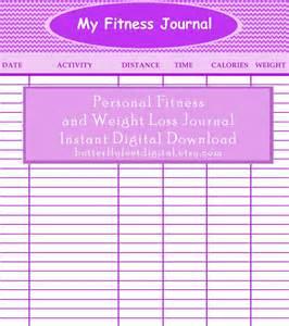 fitness journal weight loss chart by butterflyfeetdigital