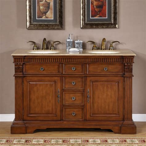 Furniture Style Bathroom Vanities 55 Inch Furniture Style Double Sink Bathroom Vanity Uvsr018155