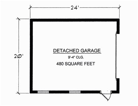 480 square feet floor plans detached 2 car garage 480 sq ft total