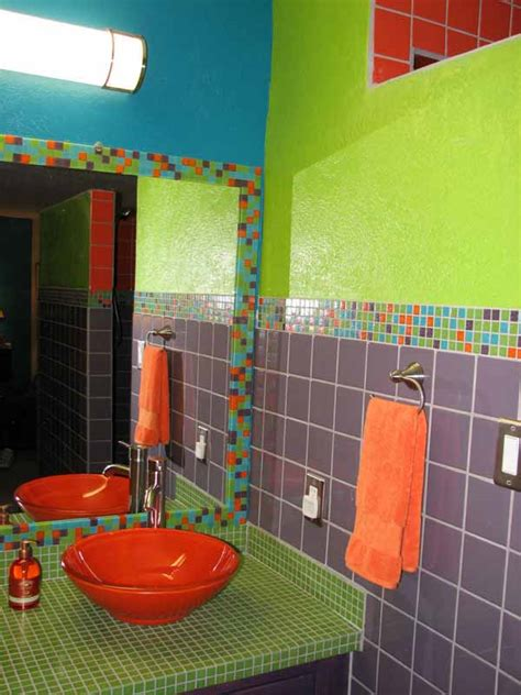 green and orange bathroom the purple green and orange in this bathroom are the