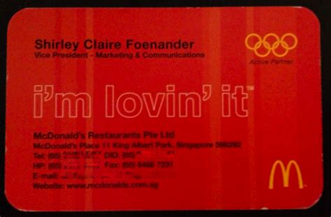 Mcdonalds Gift Card Amount - what does your business card say about you mumbrella asia