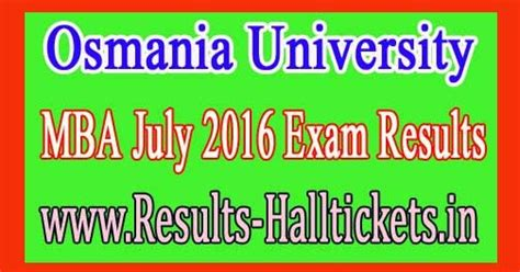 Ou Mba Results by Osmania Mba July 2016 Results Tet Dsc