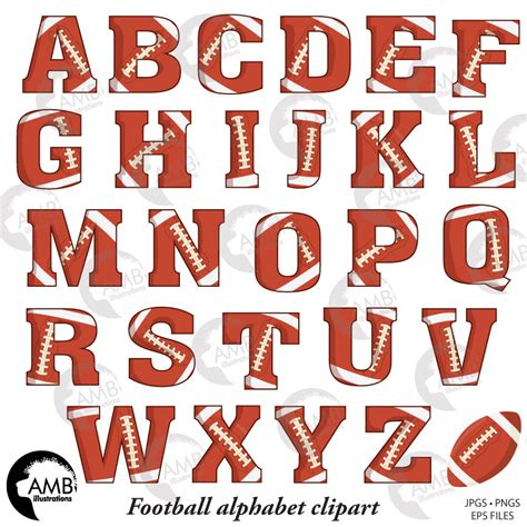 combo football letters and numbers clipart football team