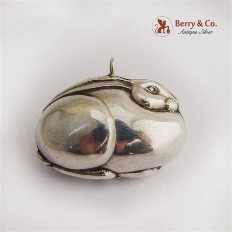 rabbit christmas ornament pendant sterling silver from