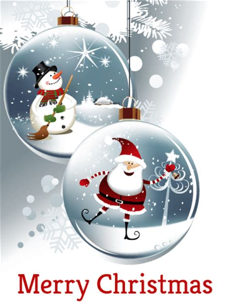 happy santa snowman christmas ornaments card birthday greeting cards  davia