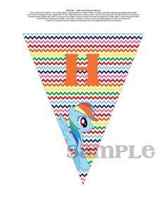 Bunting Flag Happy Birthday Pony Banner Hbd Pony instant my pony rainbow quot happy birthday quot banner my pony pack