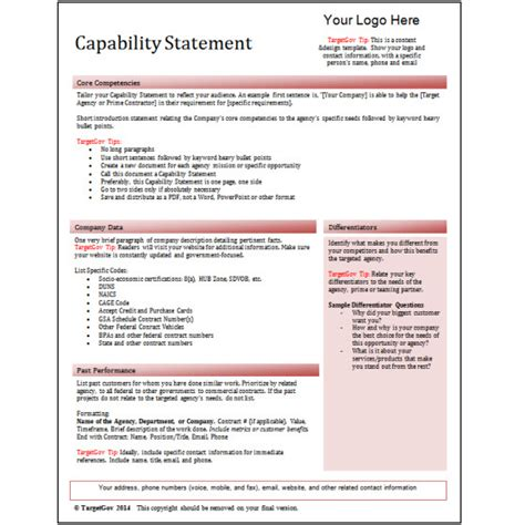 capability statement template related keywords