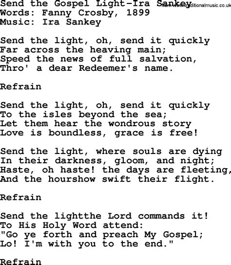 Send The Light Lyrics by Send The Gospel Light Ira Sankey Txt By Ira Sankey Christian Hymn Lyrics