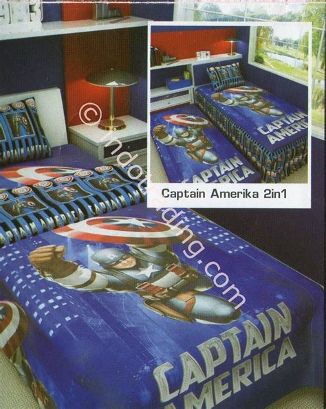 Daftar Harga Sprei Merk jual bed cover sprei captain amerika 2in1 merk angela