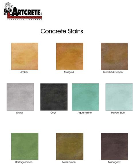 Artcrete Acid Stain Color Chart   Diamond Kote Decorative