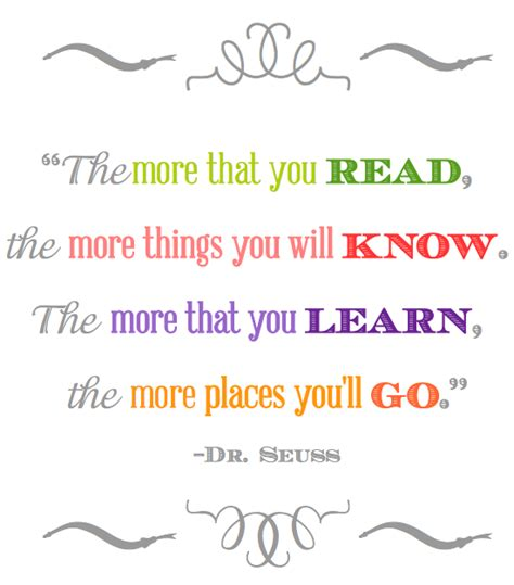 printable quotes about reading the more you read dr seuss quotes quotesgram