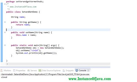 tutorial java method setter and getter methods in java with exle program