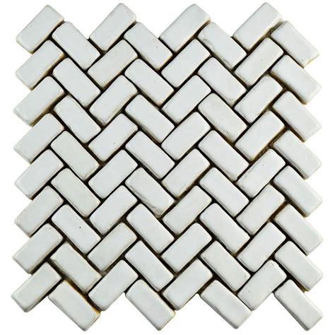 herringbone pattern wall tile merola tile cobble herringbone white 11 in x 11 1 2 in x