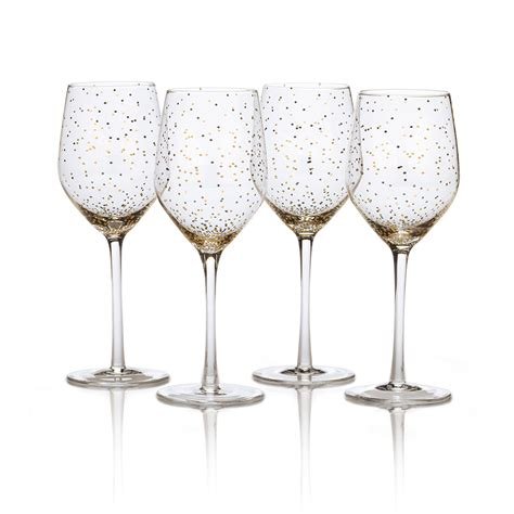 barware glasses buy lustre set of 4 dots gold wine glasses online at