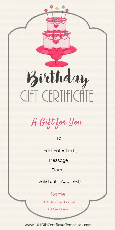 birthday gift card design template birthday gift certificate templates 101 gift certificate