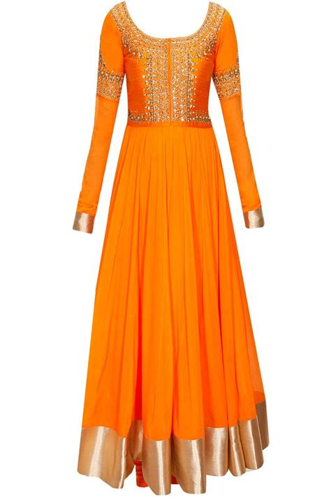 Dress Simple Motif Orange orange anarkali frock in length for