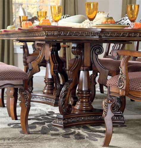 d705 03 ashley furniture ledelle dining uph side chair 2cn ledelle rectangular pedestal dining room set from ashley