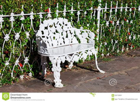 white wrought iron bench white wrought iron bench stock image image 29772051