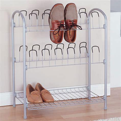 Walmart Wire Shoe Rack by 12 Pair Wire Shoe Rack With Storage Shelf In Shoe Racks
