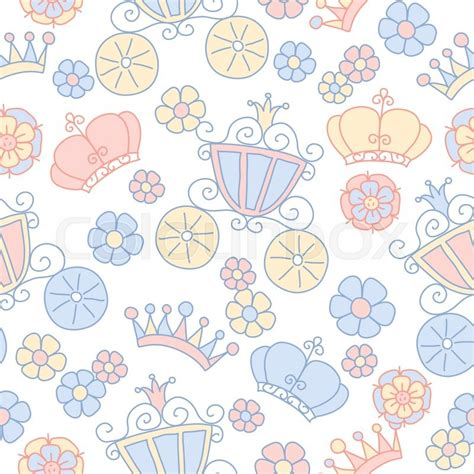 pattern princess vector hand drawn seamless vector pink and blue pattern of little