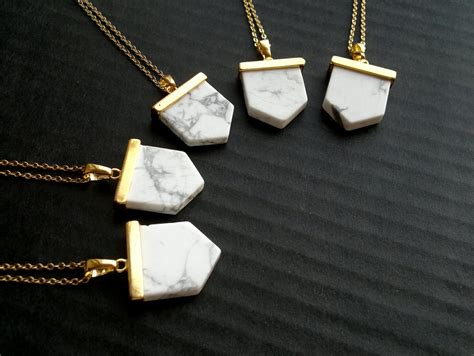 gold white howlite necklace gold howlite jewelry white