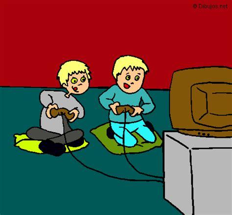 fotos niños jugando playstation dibujo de ni 241 os jugando pintado por play en dibujos net el