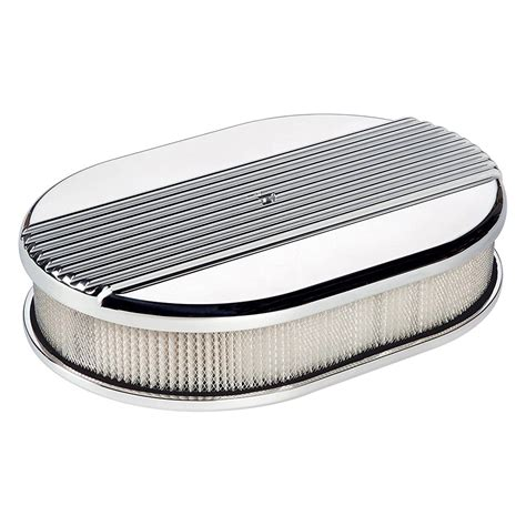 air cleaner billet specialties 174 15630 small oval white aluminum polished air cleaner assembly