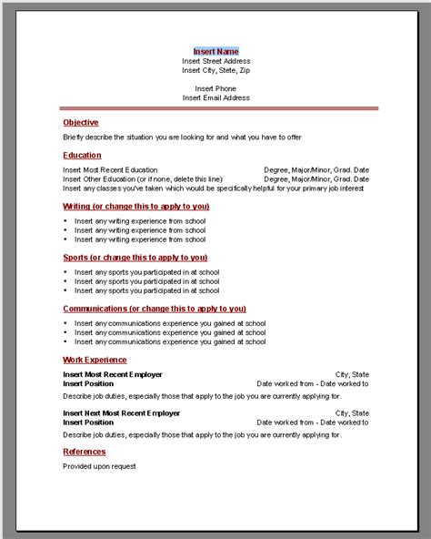 Resume Template Word 2010 by Resume Word Templates At The Eform Word Templates Shoppe