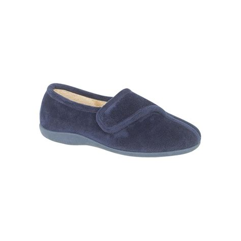 Sleeper Shoes by Sleepers Elsie Navy Velcro Slipper Sleepers From