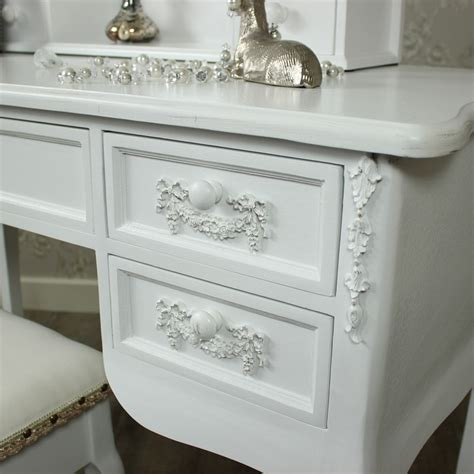 Ornate Vanity Table Antique White Dressing Table Ornate Mirror And Stool Pays Blanc Range Melody Maison 174