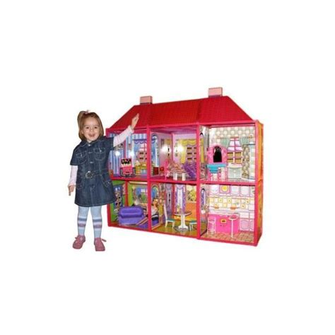 giant dolls house xxl doll house 128 pcs barbie with furniture 105x94x36 cm