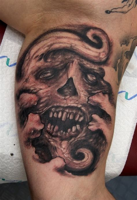 zombie tattoo on leg by graynd tattooimages biz monster freestyle zombie tattoo tattooimages biz