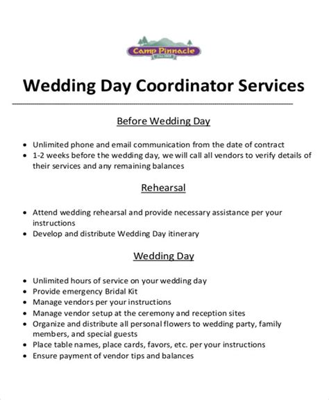 Event Planner Contract Sle 6 Exles In Word Pdf Wedding Planner Contract Template