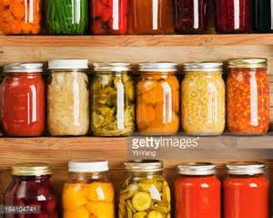 home canning fruit and vegetable food preserves in storage