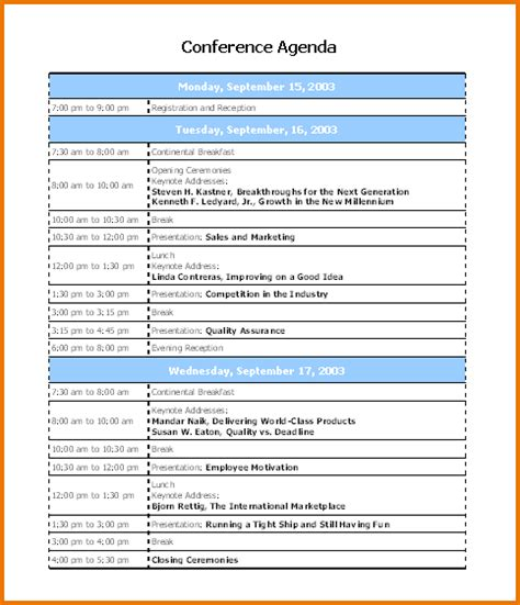 Conference Agenda Template 6 conference program template divorce document