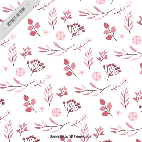 pattern color flat pattern of pink flowers in flat design vector free download