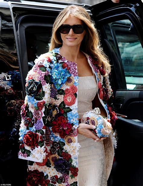 melania wears unique floral jacket for sicily trip