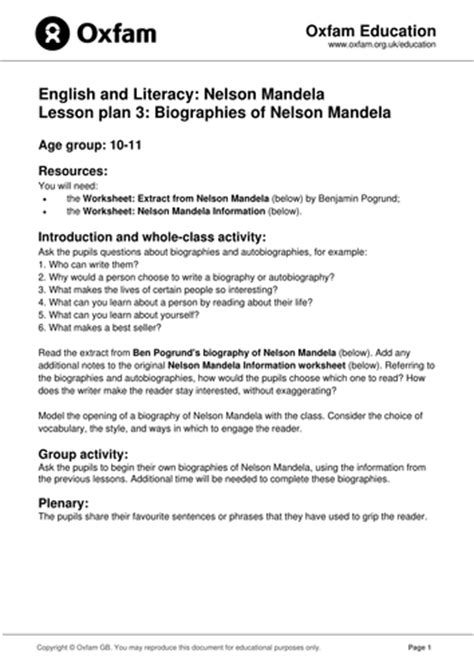 nelson mandela biography for ks2 nelson mandela biography autobiography by oxfam