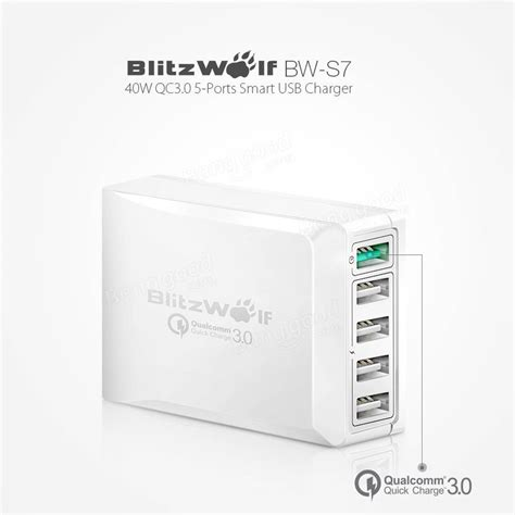Hc007 7 Ports Qualcomm Qc 3 0 Intelligent Usb Charger qualcomm certified blitzwolf 174 bw s7 qc3 0 40w 5 usb desktop charger adapter with power3s tech