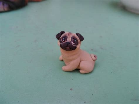 polymer clay pug pug figurine sculpted polymer clay by raquel at the wrc