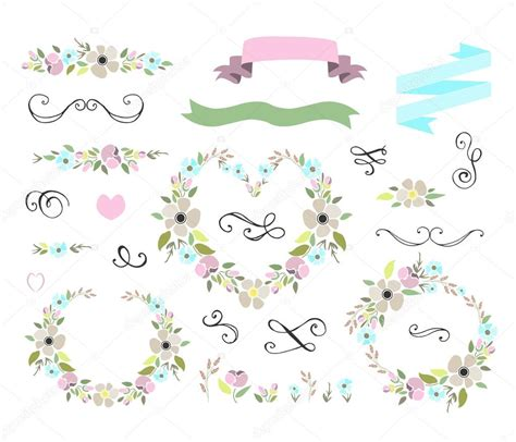 Wedding Graphic by Floral Wedding Graphic Set With Wreaths Stock Vector