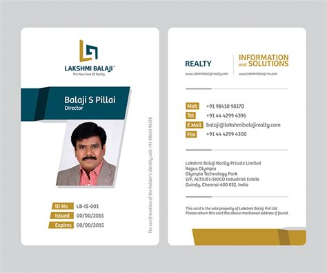 id card design patterns lakshmi balaji company id card and visiting card design
