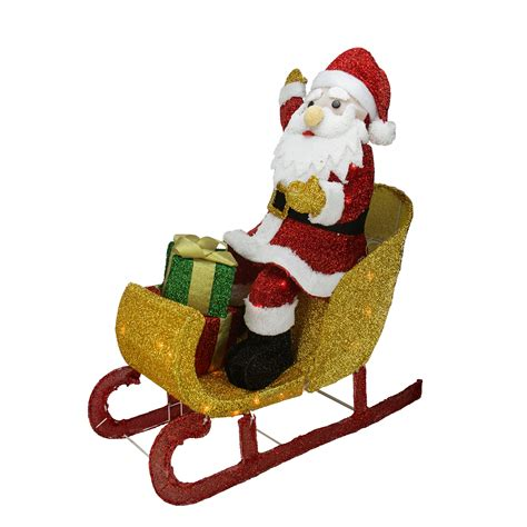 Santa Sleigh Outdoor Decoration by 29 5 Quot Lighted Tinsel Santa Claus In Sleigh Yard