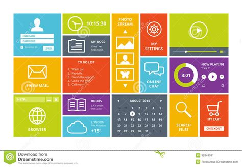 layout ui windows 8 modern ui design layout stock vector image