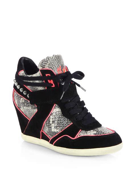 studded sneaker wedges ash bisou studded snakeskin suede wedge sneakers in black