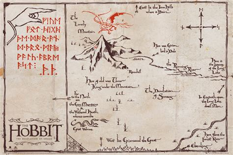 the hobbit the lonely mountain map poster sold at