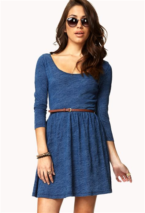 forever 21 denim inspired fit flare dress w belt in blue
