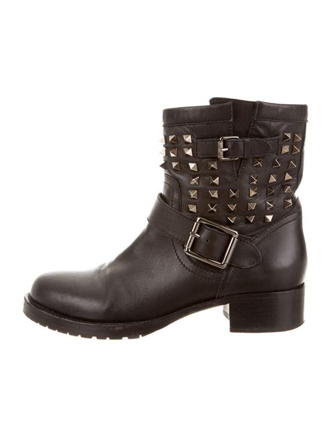 leather moto boots valentino leather rockstud moto boots shoes val38917