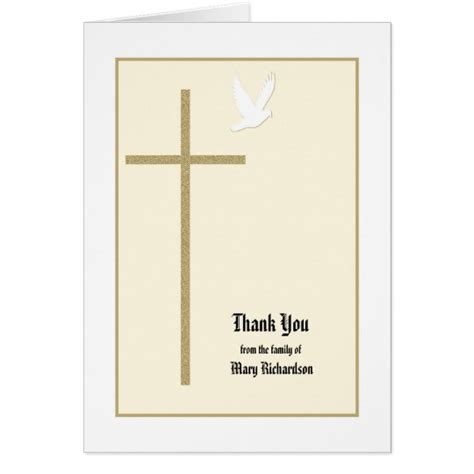 Thank You Letter Religious Christian Memorial Thank You Note Card Zazzle